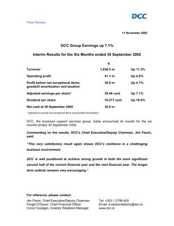 DCC Group Earnings up 7.1% Interim Results for the Six Months ...