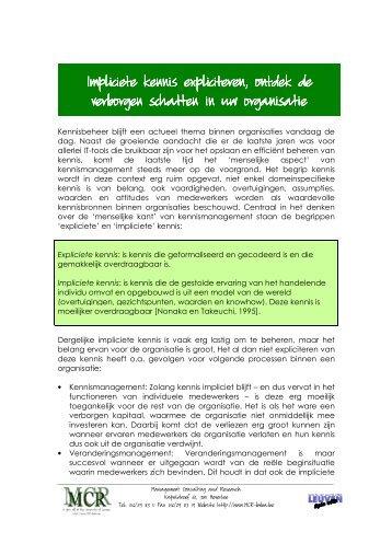 Nieuwsbrief Impliciete kennis expliciteren - Mcr Bvba