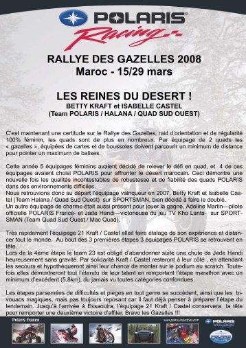 Info Rallye des Gazelles 2008