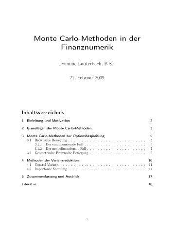 Monte Carlo-Methoden in der Finanznumerik