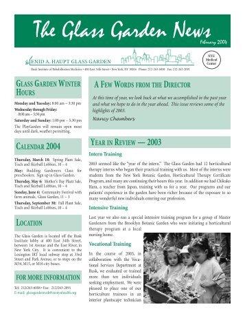 The Glass Garden News - New York University Medical Center