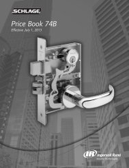 Schlage Commercial Price Book - Top Notch Distributors, Inc.