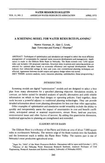 A Screeing Model for Water Resources Planning
