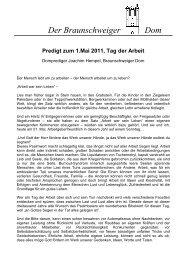 Predigt zum 1.Mai 2011 - der Braunschweiger Dom
