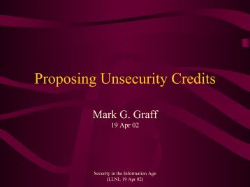 Proposing Unsecurity Credits