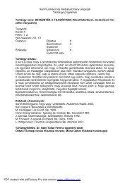 Tantárgyi programok - NymE - SEK