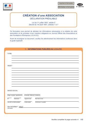 CRÉATION d'une ASSOCIATION - Formulaires en ligne