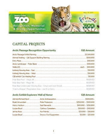 to download a copy of naming opportunities - Henry Vilas Zoo