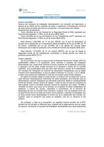 Consulta oficial sobre Jubilacion Parcial