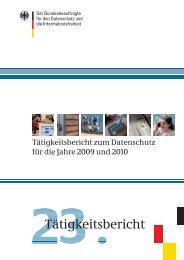 Tätigkeitsbericht 2009-2010 - Bundesbeauftragter für den Datenschutz