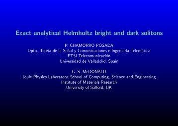 Helmholtz solitons - School of Computing, Science & Engineering ...