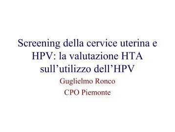 HPV group - Osservatorio Nazionale Screening