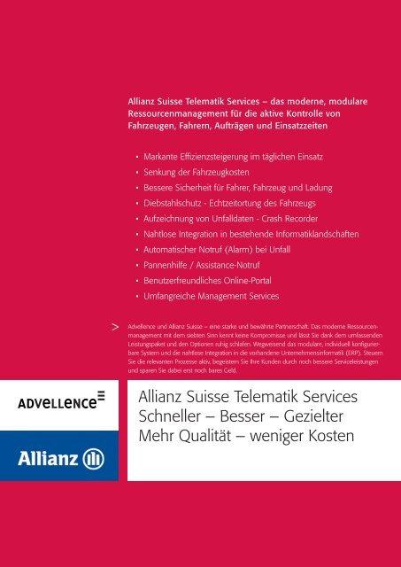 Allianz Suisse Telematik Services Schneller – Besser ... - Advellence