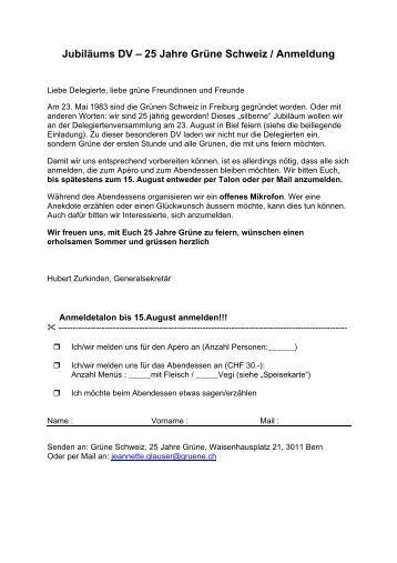 Jubiläums DV – 25 Jahre Grüne Schweiz / Anmeldung