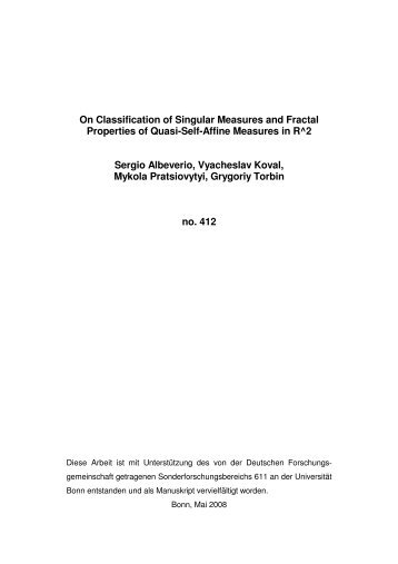 On Classification of Singular Measures and Fractal Properties of ...