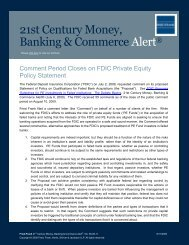 Comment Period Closes on FDIC Private Equity Policy ... - Fried Frank