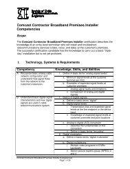 Comcast Contractor Competencies Contractor Broadband ... - SCTE