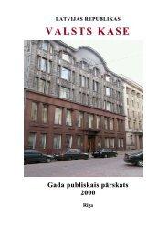 2000.gada publiskais gada pārskats - Valsts kase