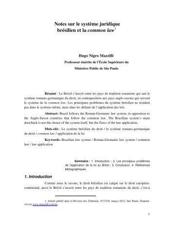 Notes sur le système juridique brésilien et la common law - Mazzilli