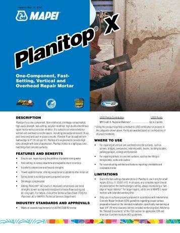 Planitop X Planitop X - Northland Construction Supplies