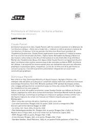 Architecture et littérature : écritures urbaines - présentation des ...