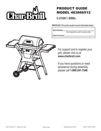 PRODUCT GUIDE MODEL 463666512 - Char-Broil Grills