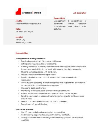 Job Description Job Title Sales And Marketing Executive Status Full .