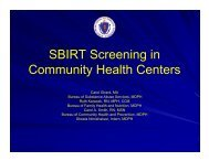 SBIRT Screening in Community Health Centers - Massachusetts ...