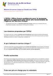 Missions de service civique au Canada avec l'OFQJ - Brest ...