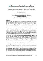 online consultants international - Informationsangebot von oci GmbH