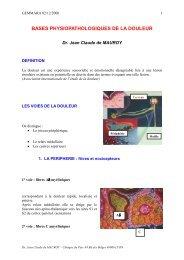 BASES PHYSIOPATHOLOGIQUES DE LA DOULEUR