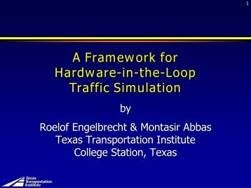 Framework for HITL - Traffic Signal Systems Committee