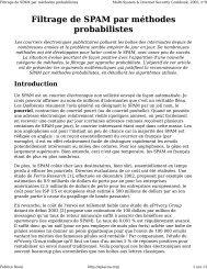 Filtrage de SPAM par méthodes probabilistes - Fabrice Rossi
