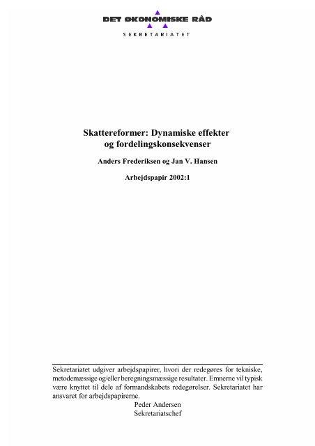 Skattereformer - dynamiske effekter og fordelingskonsekvenser