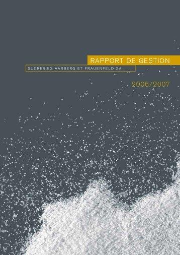 2006/2007 RAPPORT DE GESTION - Herzlich Willkommen bei den ...