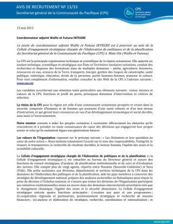 AVIS DE RECRUTEMENT Nº 13/33 - Direction de l'environnement ...