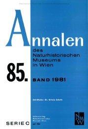 Naturhistorischen Museums in Wien BAND 1981