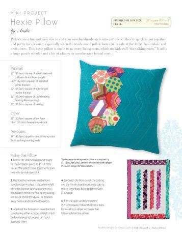 Hexie Pillow Project - Sew Mama Sew
