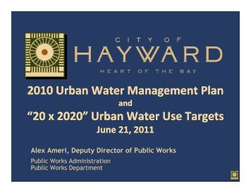 "2010 Urban Water Management Plan ""20 x ... - City of HAYWARD"
