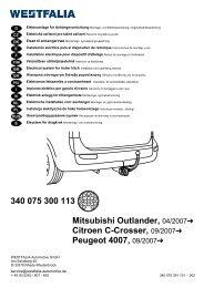 340 075 300 113 Mitsubishi Outlander, 04/2007 Citroen C-Crosser ...