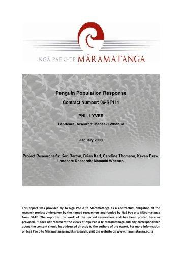 Penguin Population Response - Ngā Pae o te Māramatanga