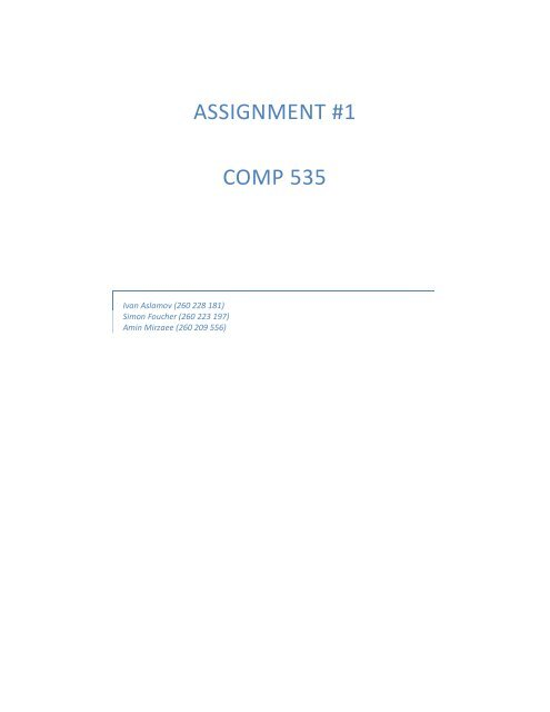 ASSIGNMENT #1 COMP 535