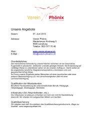 Unsere neuen Angebote (PDF) - Verein Phönix