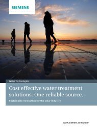 Cost Effective Water Treatment Solutions. One Reliable ... - Siemens