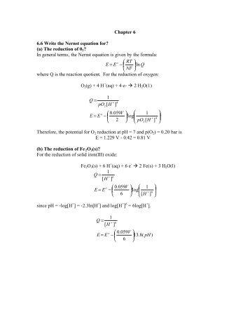 Chapter 6 6.6 Write the Nernst equation for? - Valdosta State ...