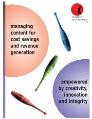 managing content for cost savings and revenue generation ...