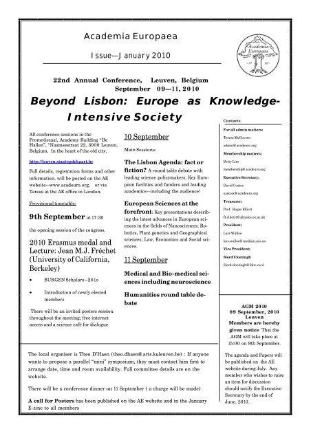 January 2010 - Academia Europaea