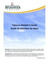 Guide du détaillant de tabac - Government of New Brunswick