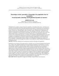 Dynamique sociale, parentèle et dynamique des population chez ...