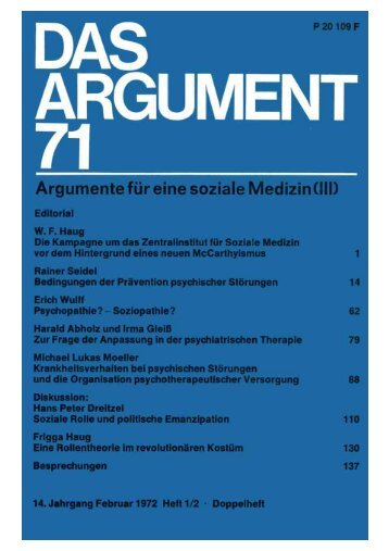 Das Argument 71 - Berliner Institut für kritische Theorie eV